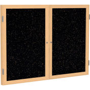 "Ghent® 2 Door Enclosed Recycled Rubber Bulletin Board, 60""W x36""H, Tan Speckled w/Oak Frame"