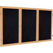 "Ghent® 3 Door Enclosed Recycled Rubber Bulletin Board, 72""W x48""H, Black w/Oak Frame"