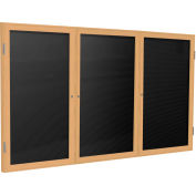 Ghent® 3 Door Enclosed Flannel Letter Board w/Oak Frame, 4' x 8', Black