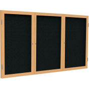 "Ghent® 3 Door Enclosed Fabric Bulletin Board, Black Fabric/Oak Frame, 96""W x 48""H"