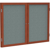 """Ghent® 2 Door Enclosed Fabric Bulletin Board, Gray Fabric/Cherry Frame, 48""""W x 36""""H"""