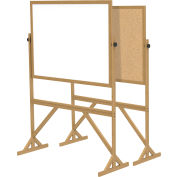 """Ghent® Reversible Acrylite Marker/Natural Corkboard, 55""""W x 73-1/2""""H"""