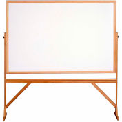 "Ghent® Mobile Reversible Double Sided Acrylite Whiteboard, Wood Frame, 78""W x 73-1/2""H"