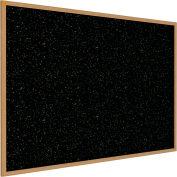 """Ghent® Recycled Rubber Bulletin Board, Oak Trim, 60-5/8""""W x 48-5/8""""H, Confetti"""