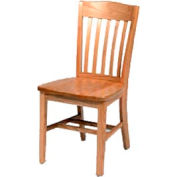 "Solid Oak Chair With Curved Vertical Slats 18-1/4""W X 16-1/16""D, Natural Finish"