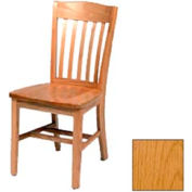 "Solid Oak Chair w/ Curved Vertical Slats 18-1/4""W X 16-1/16""D, Provincial Finish"