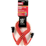 Carol 10' Coiled Power Tool Ext./Power Cord, 16awg 13a/125v-Orange - Pkg Qty 10