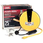 Carol 44623.61.05 25' Power-Reel 3 Outlets, 16awg 10a/125v - Yellow - Pkg Qty 4