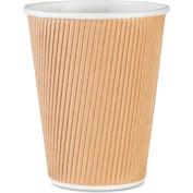 Genuine Joe GJO11260PK - Rippled Hot Cups, 12 Oz., 25/Pack, Brown