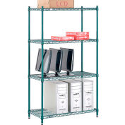 "Nexel® Green Epoxy Wire Shelving, 36""W X 14""D X 54""H"