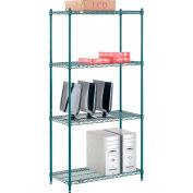 "Nexel® Poly-Green™ Wire Shelving Starter, 36""W x 14""D x 74""H"