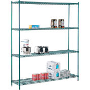 "Nexel® Green Epoxy Wire Shelving, 72""W X 14""D X 86""H"