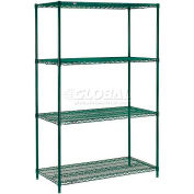 "Nexel® Green Epoxy Wire Shelving, 24""W X 18""D X 63""H"