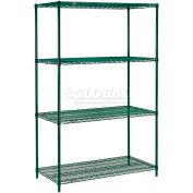 """Nexel® Green Epoxy Wire Shelving, 42""""W X 18""""D X 63""""H"""