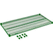 "Nexel® S2436G Green Epoxy Wire Shelf 36""W X 24""D with Clips"