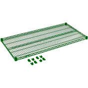 """Nexel® S2448G Green Epoxy Wire Shelf 48""""W X 24""""D with Clips"""