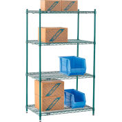 "Nexel® Green Epoxy Wire Shelving, 36""W X 21""D X 54""H"