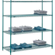 "Nexel® Green Epoxy Wire Shelving, 60""W X 24""D X 54""H"