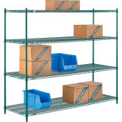 "Nexel® Green Epoxy Wire Shelving, 72""W X 24""D X 54""H"