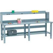 Global Industrial™ 96x30 Extra Long Steel Top Workbench - Side/Back Rails, Shelf & Power Riser