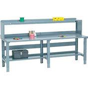Global Industrial™ 96x36 Extra Long Steel Top Workbench - Side/Back Rails, Shelf & Riser - Gray