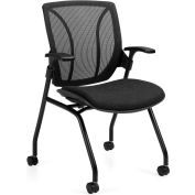 Global™ Roma-Mesh Medium Back - Flip Seat Nesting Armchair Black Mesh Back Black Coal Seat