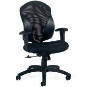 Global™ Tye - Medium Back Tilter, Mesh/Fabric Back,- Black Upholstered Seat