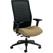 Global™ Loover High Mesh Back Weight Sensing Synchro-Tilter Chair Black w/ Dark Sand Seat
