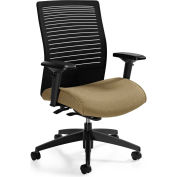 Global™ Loover Mid Mesh Back Weight Sensing Synchro-Tilter Chair Black w/ Dark Sand Seat