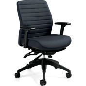 Global™ Aspen - Medium Back Pneumatic Multi - Tilter - Grey Fabric Upholstery
