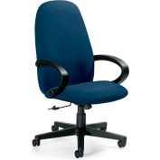Global™ Enterprise - High Back Tilter With Fixed Loop Arms - Navy Blue Fabric Upholstery