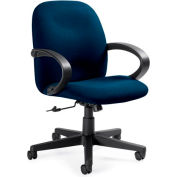 Global™ Enterprise - Low Back Tilter With Fixed Loop Arms - Navy Blue Fabric Upholstery