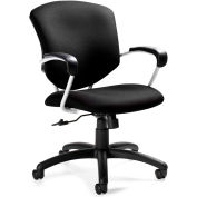 Global™ Supra Medium Back Pneumatic Tilter Chair with Arms Fabric Black