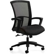 "Global™ Vion High Back Tilter Chair with Fixed ""C"" Arm with Black Mesh Back & Black Fabric"