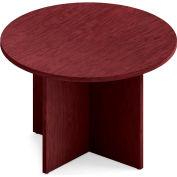 "Global™ Boardroom Table - Round - Laminate - 42"" - Quartered Mahogany"