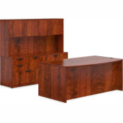 """Offices To Go™ Wood Desk & Credenza with Hutch - 71"""" - American Dark Cherry - Bundle #10"""