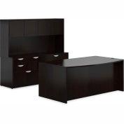 "Offices To Go™ Wood Desk & Credenza with Hutch - 71"" - American Espresso - Bundle #10"