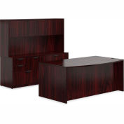 """Offices To Go™ Wood Desk & Credenza with Hutch - 71"""" - American Mahogany - Bundle #10"""
