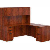 "Offices To Go™ L Desk with Hutch - 72"" - American Dark Cherry - Bundle #12"