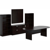 Offices To Go™ Conference Table w/ Bookcase & Lateral File - American Espresso - Bundle #16