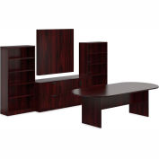 Offices To Go™ Conference Table w/ Bookcase & Lateral File - American Mahogany - Bundle #16