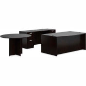 "Offices To Go™ Wood Desk with Credenza and Round Table - 71"" - American Espresso - Bundle #7"