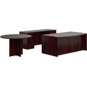"Offices To Go™ Wood Desk with Credenza and Round Table - 71"" - American Mahogany - Bundle #7"