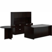 "Offices To Go™ Wood Desk w/ Hutch, Credenza & Round Table - 71"" - Espresso - Bundle #7"