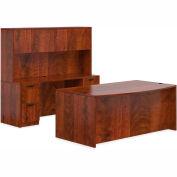 """Offices To Go™ Wood Desk w/ Hutch & Credenza - 71"""" - Dark Cherry -Bundle #7"""