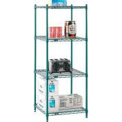"Nexel® Poly-Green® Wire Shelving Starter Unit - 5 Tier - 24""W x 24""D x 74""H"