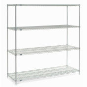 "4-Shelf  Wire Shelving Unit, Silver EP, 72""W x 30""D x 86""H"