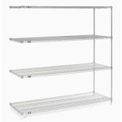 "Nexel® Stainless Steel Wire Shelving Add-On Unit - 5 Tier - 60""W x 24""D x 86""H"