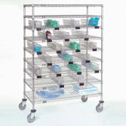 "Nexel® Chrome Catheter Cart with Baskets, 5"" Swivel Casters (2 with Brakes), 48""W x 24""L x 68""H"