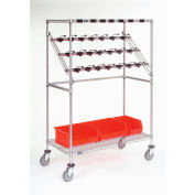 "Nexel® Chrome Catheter Procedure Cart, 5"" Swivel Casters (2 with Brakes), 48""W x 24""L x 68""H"